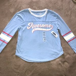 Old Navy long sleeve top w Awesome Logo. NWT